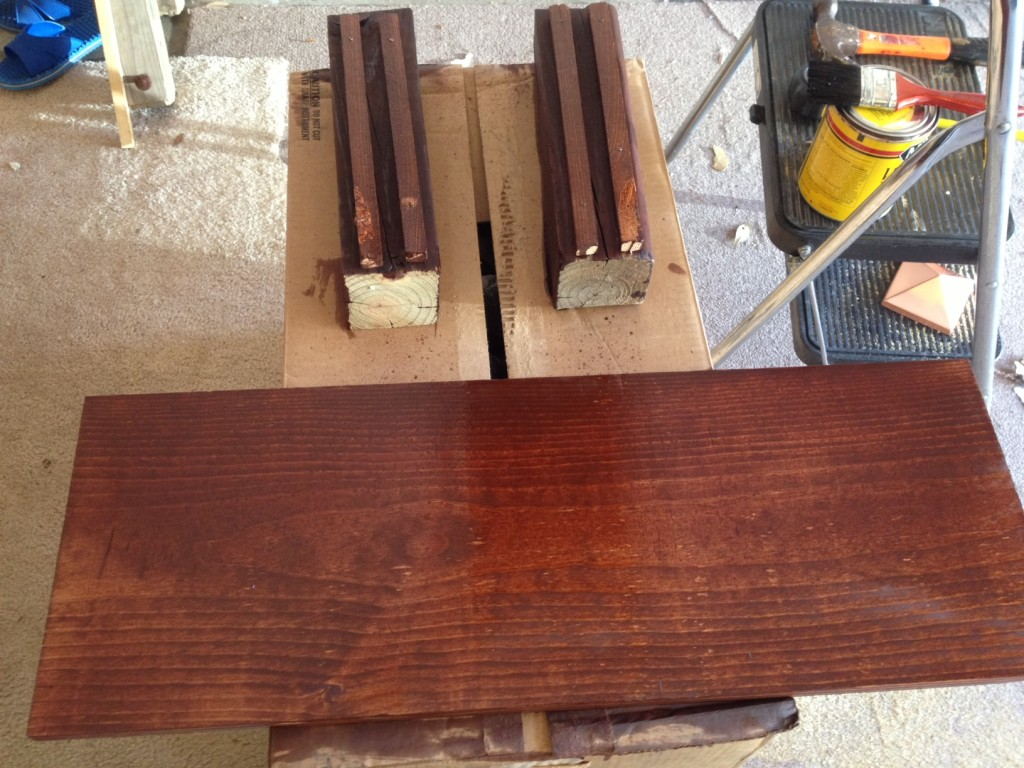 After the cutting during the staining.